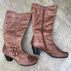 Brown Faux Leather Wide Boots Size 8.5